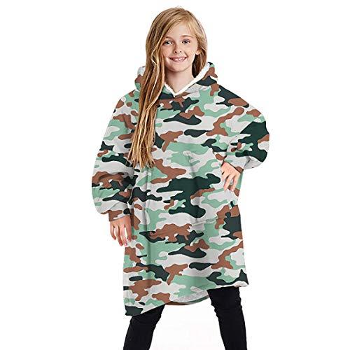 MoneRffi Kids Hoodie Blanket Wearable Blanket Oversize Sweatshirt Print Fleece for Boys Girls