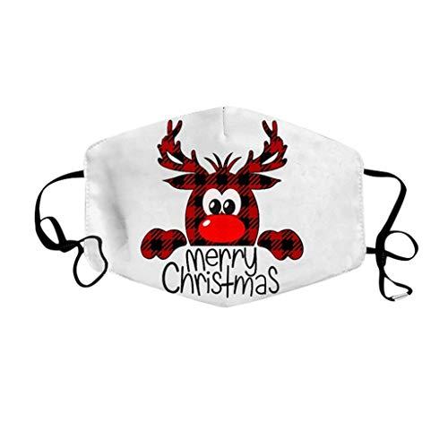 RUITOTP Unisex Weihnachtsgesichts-Mund-Abdeckung mit 3D-Weihnachtsmotiv Lustiger multifunktionaler staubdichter Stoff Atmungsaktiver Gesichtsschutz Nackenschal Mund-Nasen-Abdeckung Bandana
