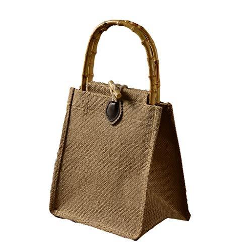 Fiambrera aislante bolsa de arpillera verde, bambú original ecológico morado caja de arena duradera, Lino, Botón de cuero, Small