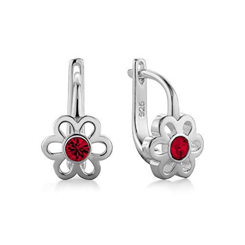 butterfly Mädchen Damenohrringe Silber 925 rot Swarovski Elements Original Blume Satin-Beutel Kinder Geschenk Schmuck