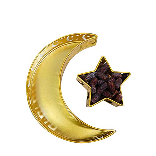 Eid Mubarak Moon/Star Serving Tray Tableware Dessert Food Storage Container Ramadan Wrought Iron Tray for Home Decor