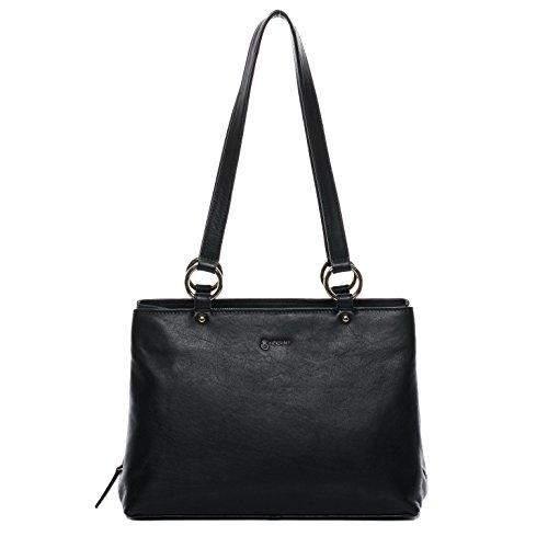 BACCINI Handtasche mit Langen Henkeln echt Leder NOELA groß Henkeltasche Schultertasche Ledertasche Damen schwarz