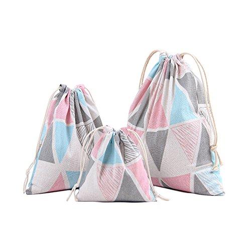 Hacoly 3 Sacca Coulisse di Tela Sacche Sportive Sacca da Ginnastica Sacche Scarpe da Viaggio Drawstring Bag stampa borsa sportiva sacco coulisse zaino per Donna e Ragazza (triangolo)