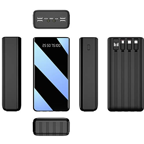 Power Bank Fast Charge 50000Mah LED Display Portable Charger, External Battery Pack with Built-In Cable & Flashlight Charge 7 Devices at The Same Time, for Phone Tablet And Other