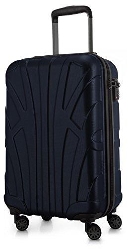 Suitline Handgepäck Hartschalen-Koffer Koffer Trolley Rollkoffer Reisekoffer, TSA, 55 cm, ca. 34 Liter, 100% ABS Matt, Dunkelblau