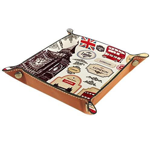 Ledertablett,Schmucktablett Dekoplatte,England London Symbole,Leder Tablett,Aufbewahrungstablett für Schmuck Schlüssel Armbanduhr Wohnzimmer Tisch Küche