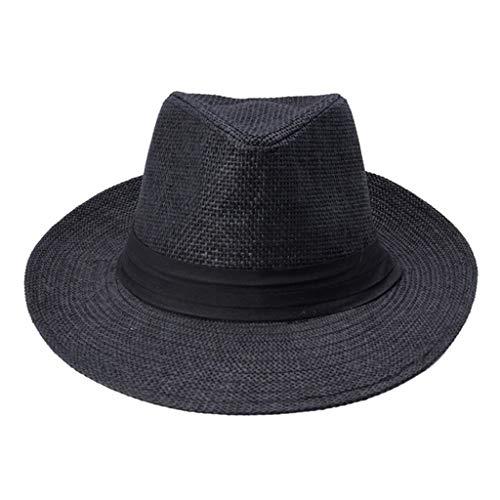 WZHZJ Verano Casual Unisex Beach Brim Amplio Jazz Sun Sombrero Panamá Hat Papel Paja Mujeres Hombres Gorra (Color : B)