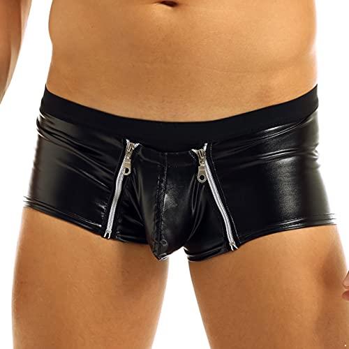 Zbaisen Mens Latex Faux Leather Boxer Briefs Zipper Pouch Casual Swim Trunks Boxer Shorts Black X-Large