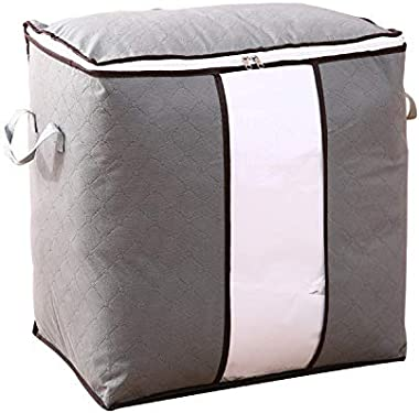 JUMA Storage Bins with Lids, Foldable Linen Fabric Storage Boxes with Lids, Collapsible Closet Organizer Containers with Cove