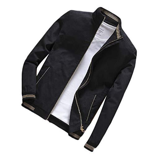 GenericC Men Casual Banded Collar Zip-Front Lightweigth Solid Casual Jacket Black XL