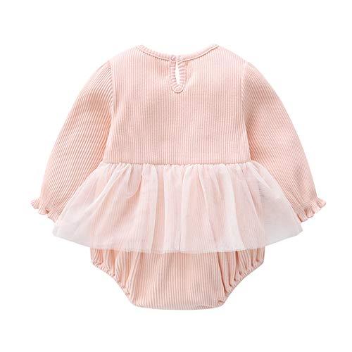 Mameluco de manga larga para bebé recién nacido con lazo tocado de malla de encaje costura princesa traje