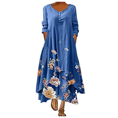 Dasongff Kaftan Kleid Damen Lang Maxikleider Mittelalter Boho Maxikleid Langarm Boho Kleider mit Taschen Freizeitkleid Vintage Baggy Etuikleid Leinenoptik Langes Tunika Kleider (Blau, XL)