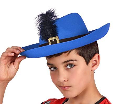 Atosa 35060 Hoed Musketier blauw, voor kinderen, unisex – volwassenen,