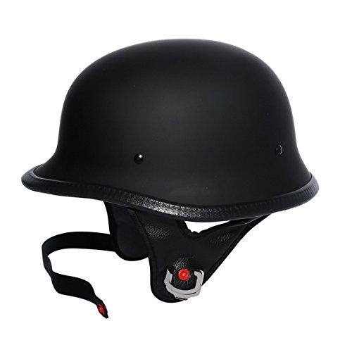 TCMT Dot Adult German Style Matte Black Half Helmet Motorcycle Chopper Cruiser Biker Helmet XL