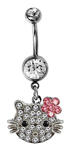 Shalalla London Belly Button Ring with dangly Hellokitty Design with CZ Crystals - 1.6 / 14G, 12mm