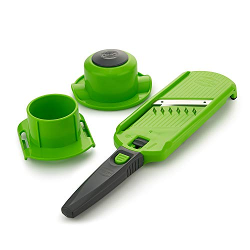 Börner Multi Dicer Food Processor Fruit and Vegetable Chopper: Cut Perfect dice, Cubes and Julienne Strips, Green-Grey