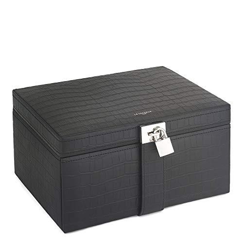 Le Tanneur Grande Boîte à Bijoux, Coffret à Bijoux, Coffre, Organisateur, boîte de Rangement à Bijoux, Compartiments Amovibles en Cuir Femme.