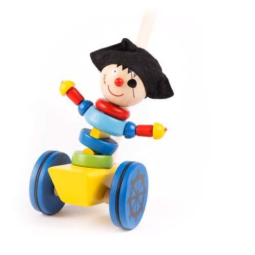 Brink Holzspielzeug Schiebefigur Pirat Schiebetier auf Rädern Kleinkind Schiebe-Laufrad mit Lauf-Stock