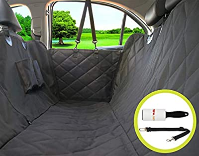 Paw Jamboree Dog car Hammock pet Covers for Cars Dog Backseat Hammock Dog Car Cover Nonslip Waterproof Pet Dog Car Seat Covers for Cars and SUVs Bonus Dog Seat Belt