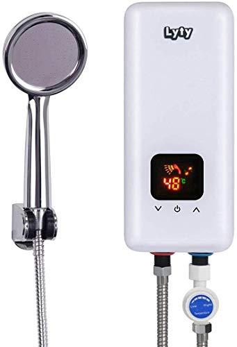 Durchlauferhitzer für Dusche Küche Druckfest - 230v/220v Untertisch Bad 5.5kw Klein Elektrisch Kleindurchlauferhitzer, Mini Elektronischer Untertischgerät Durchlauferhitzer Badezimmer +Duschkopf