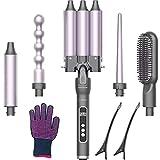 Rizador de Pelo 5 en 1 EmaxDesign Cepillo Alisador y Onduladores de Pelo Calentamiento Rápido PTC con Temperatura Ajustable con Pantalla LCD, Rizador Pelo para Todo el Peinado