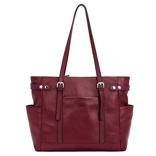 CLUCI Leder Damen Handtaschen 15,6 Zoll Laptop Schultertaschen Große Aktentasche Tote Businesstasche für Frauen Rotwein