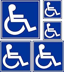 Bearn 5 x stickers voor auto, deur, handicap, parkeerplaats, WC