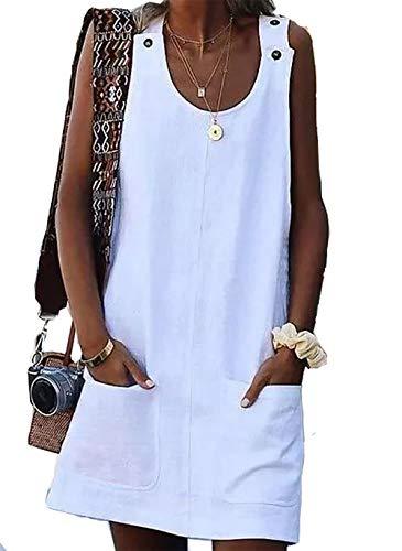 Vera Vestido de verano para mujer, estilo bohemio, cuello redondo, para la playa., blanco hueso, L