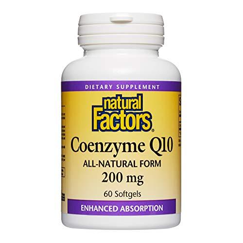 自然因素,辅酶Q10 200MG,CoQ10能源,心脏和抗氧化剂的补充,60粒软胶囊(60份)