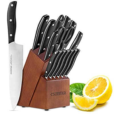 esonmus Kitchen Knife Set, 15-piece Knife Set with Wooden Block & Sharpener,Stainless Steel Forged Chef Knives Set,ABS Handle,Full Tang