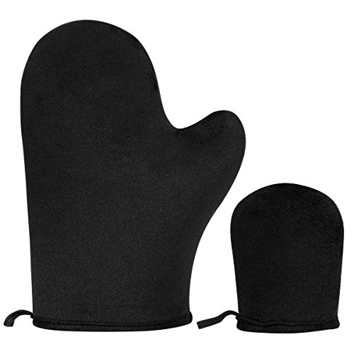 2 Pack Self Tanning Mitt Applicator Sunless Tanner Mitt with Thumb and Mini Face Applicator Mitt Self Tan Mitt Self Tanner Mitt Reusable and Washable Sunless Tanning Gloves for Mousse, Lotion, Spray