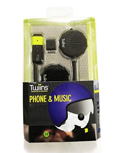 Twiins Kit Bluetooth TWIINS Handsfree 2.0 Stereo | Interfono da Casco - Semplice, Efficente, Integrato, Black, Taglia unica
