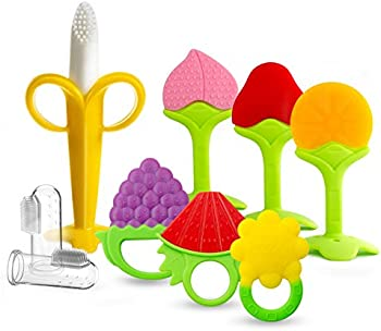 9-Pack Silicone Organic Teethers Plus Finger Toothbrushes for Babies