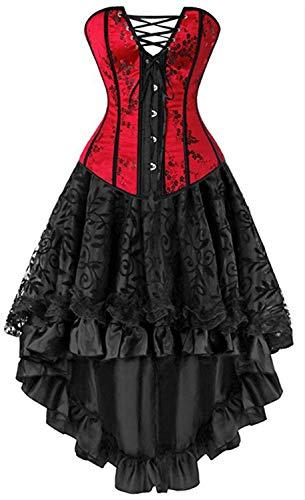 Eastery Gothic Moulin Rouge Corsage Dessous Lang chiffon Rok Elegante eenvoudige stijl Vintage mouwloos Schoudervrij Bandeau Body Shaper Fashion kruisriem asymmetrisch buste hek Cokt
