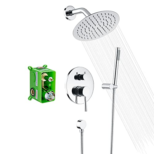 SUMERAIN Rain Shower System, Wall Mounted Bathroom Shower Faucet Set with 8' Shower Head and Brass Hand Shower, Rough in Valve Included