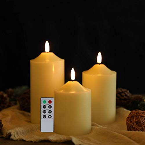 JHY DESIGN 3D Flameless Candles Set 10/12/15cmH Real Wax Battery Candle Pillars Flickering LED Candle with 8-Key Remote Control Timer for Home Wedding Party Valentine's Day Gift Decoration(Set of 3)