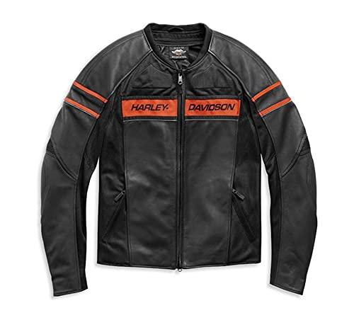 HARLEY-DAVIDSON Brawler Herren Lederjacke Bikerjacke CE-geprüft Reißverschluss Schwarz Orange, XL