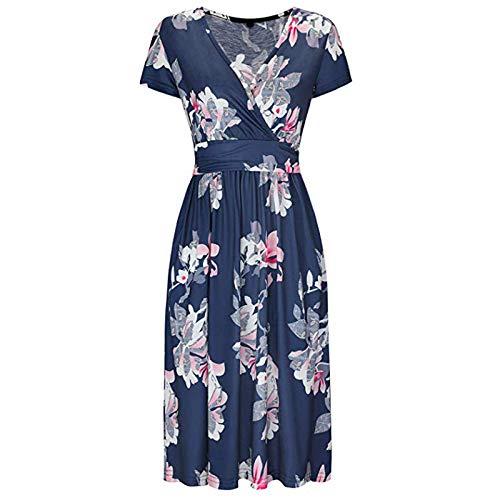RONGYP Vestido de verano para mujer, informal, holgado, con estampado de flores, escote en V, elegante, estilo bohemio, con cinturón. azul oscuro XXL
