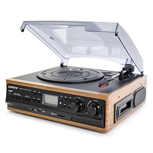 DFBGL Tocadiscos Bluetooth de 3 velocidades, Reproductor de Discos de Vinilo, Altavoces Integrados, gramófono, Radio Am/FM, Casete, grabadora LP USB/SD