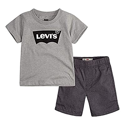 Levi's Baby Boys Graphic T-Shirt and Shorts 2-Piece Outfit Set, Grey Batwing, 18M