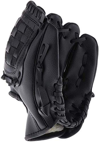 Acidea Baseball Gloves, Baseball Mitts Pitcher, Left Hand Baseball Leather Golve, Outdoor Sports Softball Gloves Child Teens Adult Training Practice Equipment, Unisex 10.5 Inch Suit for Beginner Black