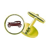 茶色の幾何学の古典的な車のシルエット スタッズビジネスシャツメタルカフリンクスゴールド