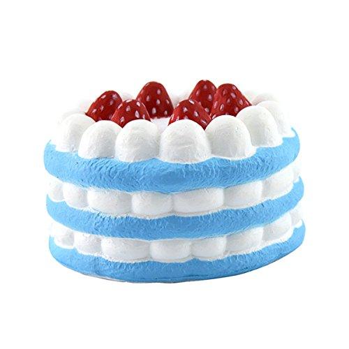 "Squishy Stress Toys Slow Rising Birthday Cake 4.3"" Blue 1 Piece"