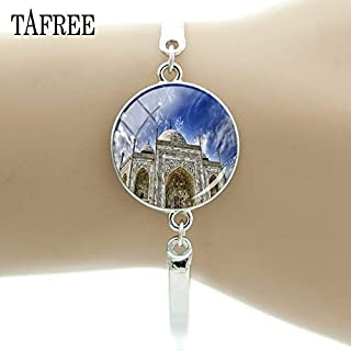 Chain & Link Bracelets - Taj Mahal Scenery Bracelet Glass Cabochon Bangle Exquisite Jewelry for Women Decoration FA458 - by Mct12-1 PCs