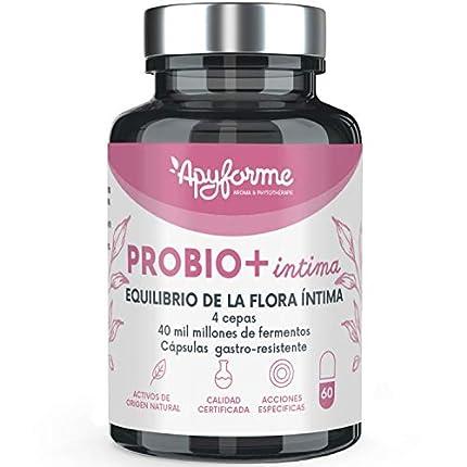 Probio+ Intima - Probiótico Flora íntima - Hasta 40 Mil Millones de UFC/día - 4 Cepas de Lactobacillus Reuteri, Rhamnosus Crispatus y Acidophilus - 100% Francés
