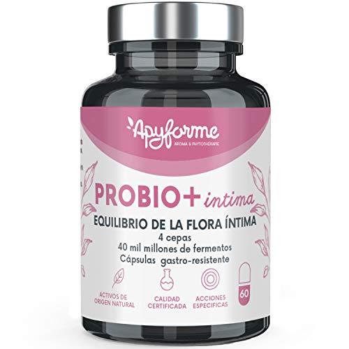 Probio+ Intima - Probióticos Mujer Flora íntima - Hasta 40 Mil Millones de UFC/día - 4 Cepas de Lactobacillus Reuteri, Rhamnosus Crispatus y Acidophilus - 100% Francés