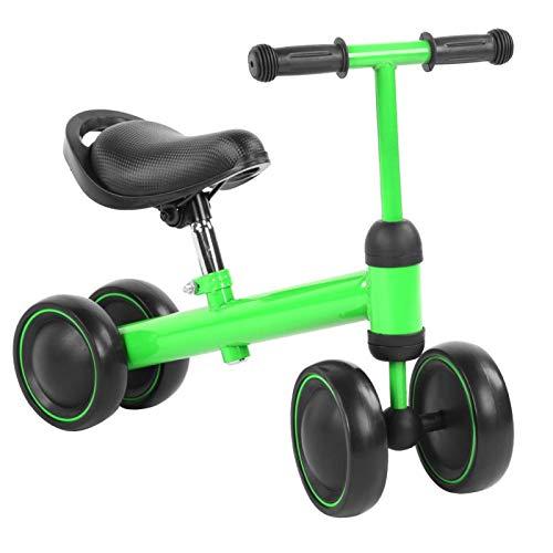 Bicicleta de equilibrio para niños, bebé, aprende a caminar, sin pedales, juguetes para montar, 4 ruedas, altura ajustable para niños, bebés, niños pequeños, 1-3 años, triciclo para niños(verde)