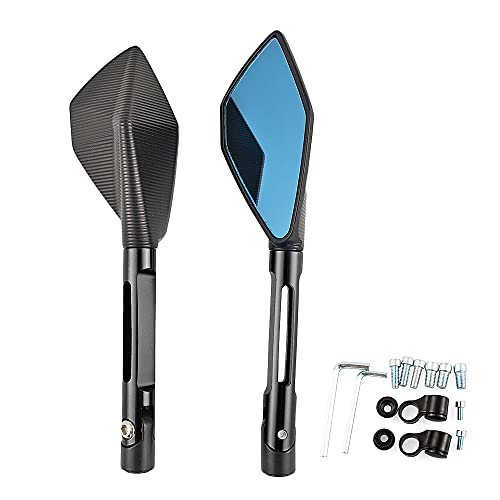 YANAN para H-O-N-D-A CABR600RR GROM MSX125 NC750X CB400 CB500X CB650F Universal 8mm 10 Mm Accesorios De Motocicleta De 10 Mm Vista Posterior Espejos De Cristal Azul (Color : Black)