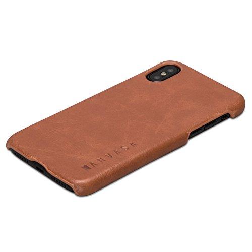 KANVASA Cover iPhone XS/Case iPhone X Custodia in Pelle Marrone Cover Ultrasottile One per Apple iPhone XS/X / 10S / 10 - Borsetta di Lusso in Vera Pelle - Case di Protezione Ottimale & Cuoio Premium