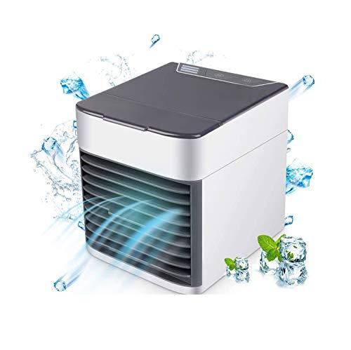 Mini Raffreddatore D'aria USB Condizionatori Portatili Personale, Air Cooler 3 IN1 Evaporativo Umidificatore Purificatore con 3 Velocità 7 Colori Luce per Casa Ufficio